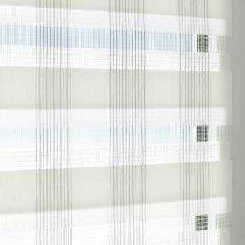 Sonnenschutz Elektrorollo Easyfix Doppelrollo weiss karo einbau 3